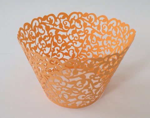 12 pcs Orange Classic Filigree Lace Cupcake Wrappers
