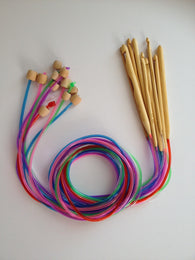 Brand New! 12 Bamboo Afghan Tunisian Crochet Hooks Finish Weave Knitting Crochet Plastic Tube Stopper Hook Colorful