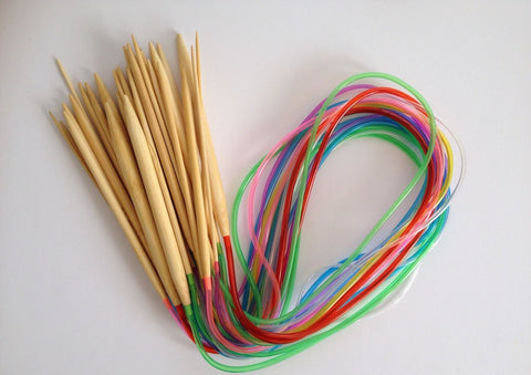 "Brand New! 18 pcs Bamboo 31"" Knitting Needles Finish Weave Knitting Crochet Plastic Tube Stopper Hook Colorful"