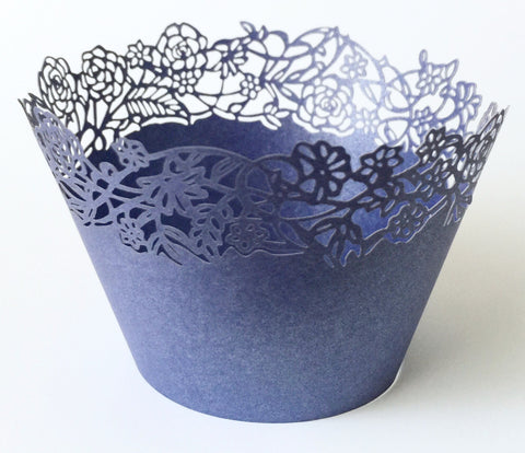 12 pcs Blue Petite Fleurs (Small Rose Flowers) Cupcake Wrappers
