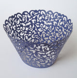 12 pcs Royal Blue Classic Filigree Lace Cupcake Wrappers