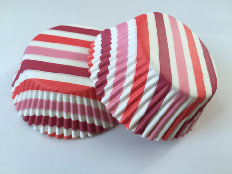 50 pcs Red Stripes Pink Dark Red Cupcake Liners