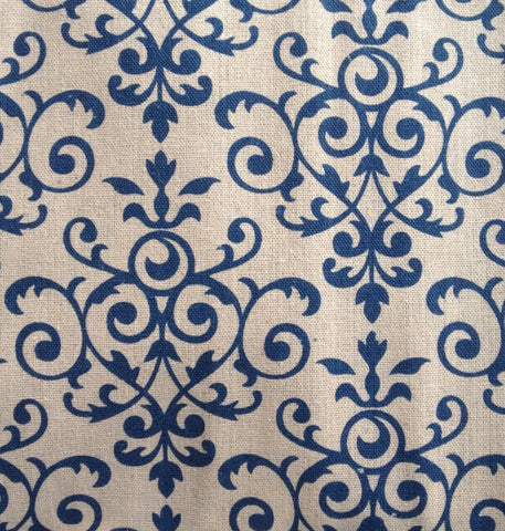 New! 1.09 yards Blue Damask Fabric Polyester Pattern Sewing Quality gray grey blue quilting floral polyester fabric