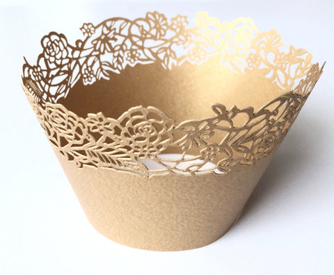 12 pcs Gold Rose Petite Fleurs Small Flowers Cupcake Wrappers