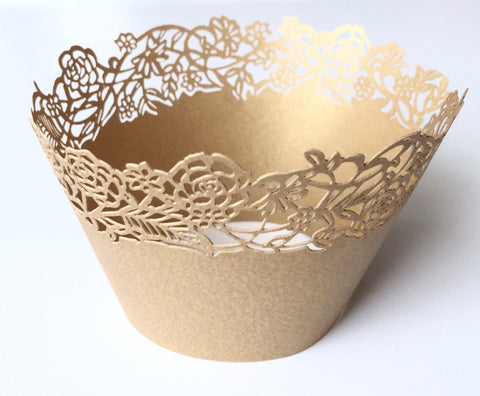 12 pcs MINI (Small) Gold Rose Petite Fleurs (Small Rose Flowers) Cupcake Wrappers