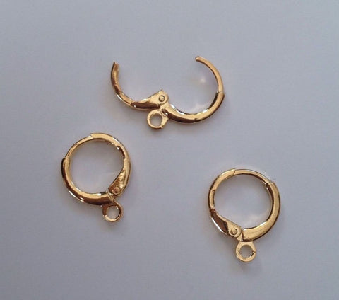 10 pcs 14k Gold Plated Earring Hoop Hooks Wire Backing #87G