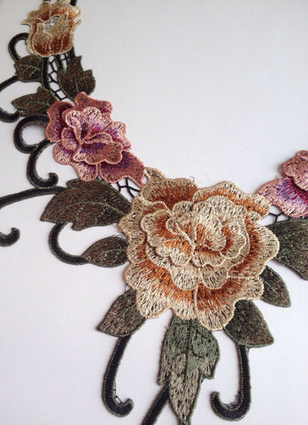 New Beautiful Necklace Lace Neckline Embroidered Applique Patch Flower Sewing Fabric Dressmaking Pink Green Tan Beige