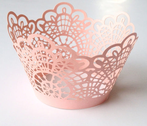 12 pcs Pink Crochet Lace Cupcake Wrappers