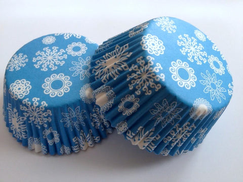50 pcs Blue Snowflakes Winter Cupcake Liners