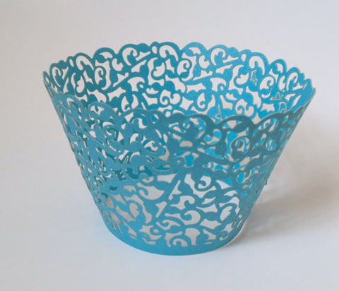 12 pcs Blue Turquoise Classic Lace Cupcake Wrappers