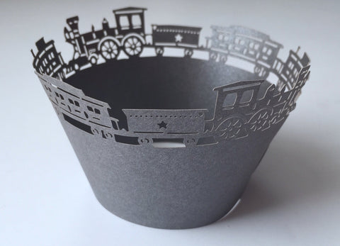 12 pcs Dark Gray Train Cupcake Wrappers