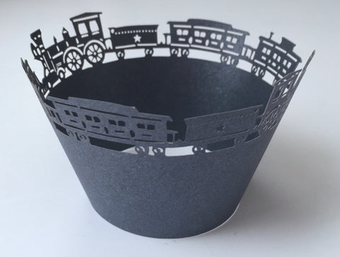 12 pcs Black Train Lace Cupcake Wrappers