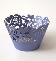 12 pcs Navy Blue Garden of Roses Cupcake Wrappers
