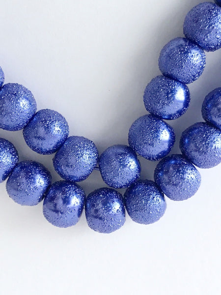 100 pcs 8mm Round Blue Glass Spacer Beads