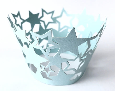 12 pcs Baby Blue Star Cupcake Wrappers Light Blue