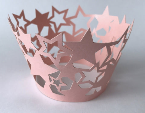 12 pcs Baby Pink Star Cupcake Wrappers