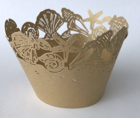 12 pcs Gold Seashell Cupcake Wrappers