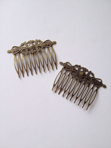 New! 10 pcs Bronze Lace Hair Comb Accessories Clips Combs Barrettes Alligator 8C Clip