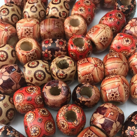 100 pcs 17mm Wooden Brown Red Barrel Beads