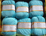New 6 skeins Blue Cashmere Silk Protein Yarn Cotton Baby Wool Hand knitted 50g ball knitting yarn