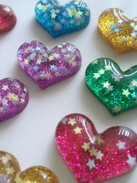10 pcs Heart Colorful Flatback Dome Seals