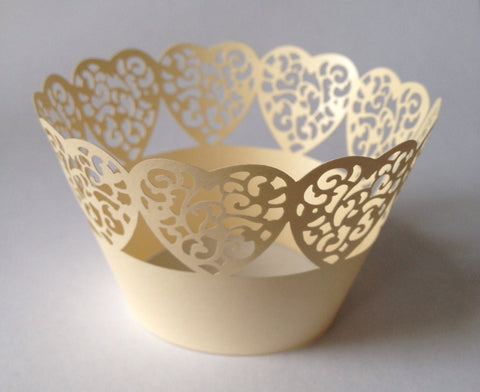 12 pcs Ivory Heart Lace Cupcake Wrappers