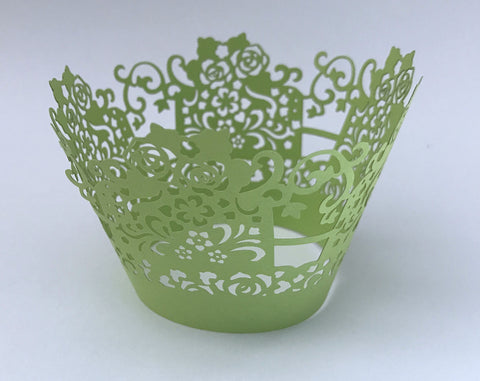 12 pcs Lime Green Rose Box Lace Cupcake Wrappers