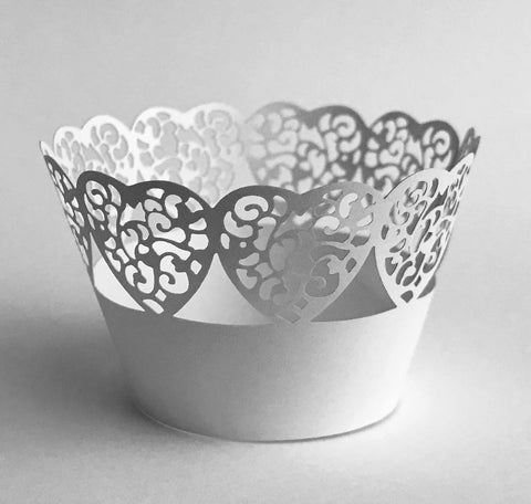 12 pcs MINI (Small) White Heart Edge Lace Cupcake Wrappers