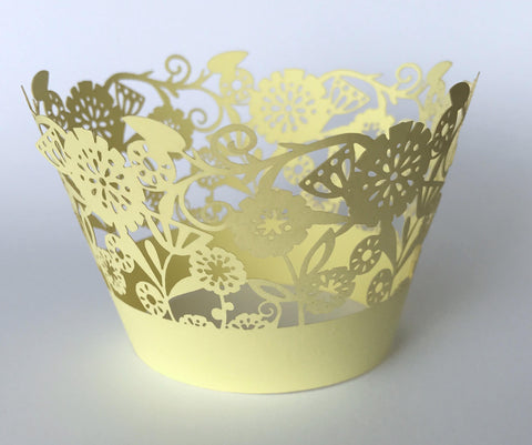 12 pcs Yellow Garden of Flowers Cupcake Wrappers