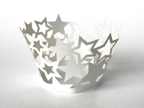 12 pcs MINI (Small) White Star Cupcake Cupcake Wrappers