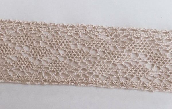 New 5 Yards Ivory Cotton Crochet Lace Trim 5W