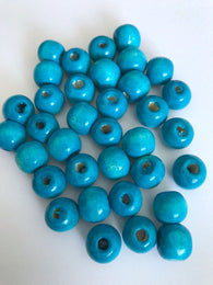 200 pcs 12mm Blue Turquoise Round Wood Beads 51b