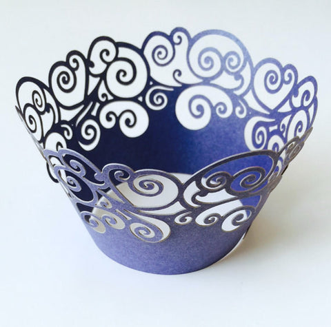 12 pcs Navy Blue Swirl Lace Cupcake Wrappers