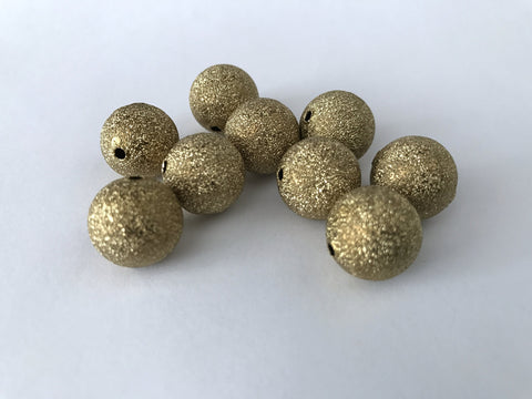 100 pcs Gold Spacer Glitter Beads 8mm --61G