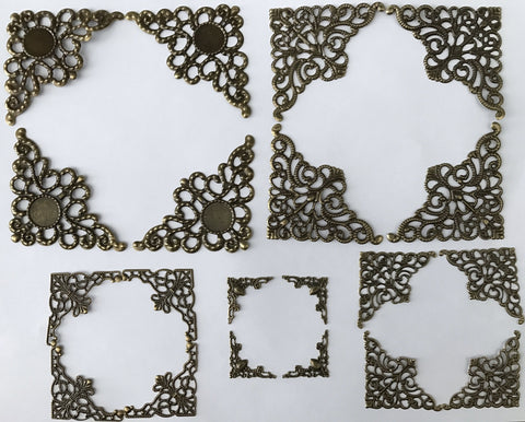 20 pcs 5 sets Bronze Embellishment Scrapbooking Paper Filigree Metal Stamping 2c