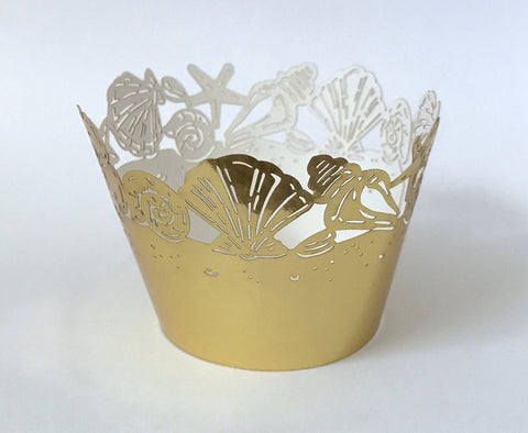 12 pcs MINI (Small) Gold Metallic Seashells Cupcake Wrappers