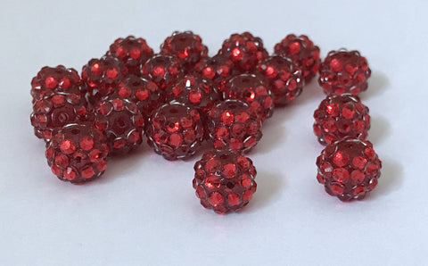 20 pcs 12mm Red Round Rhinestone Acrylic Beads