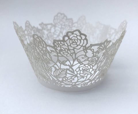 12 pcs White Rose & Lace Design Cupcake Wrappers