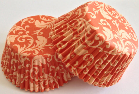 50 count Orange Damask Cupcake Liners