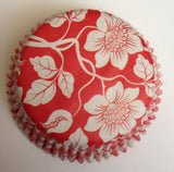 Red Orient Cupcake Liners 50 count Wedding Baking Cups Floral Flower White Red Standard Size Tools Supplies Muffin