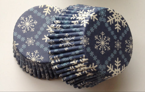 50 pcs Dark Blue Snowflakes Winter Cupcake Liners