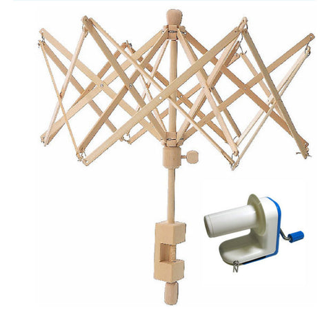 NEW Swift Yarn Winder Umbrella Birch Wood and Yarn Ball Winder Combo Package Yarn Swift Inline Ball Winder