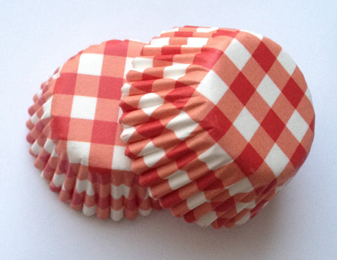 New! 100 count Mini Red Gingham Colorful Cupcake Liners