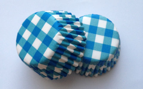 New! 100 count Mini Blue Gingham Cupcake Liners