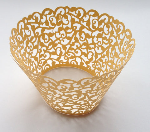 12 pcs Marigold Yellow Classic Filigree Cupcake Wrappers