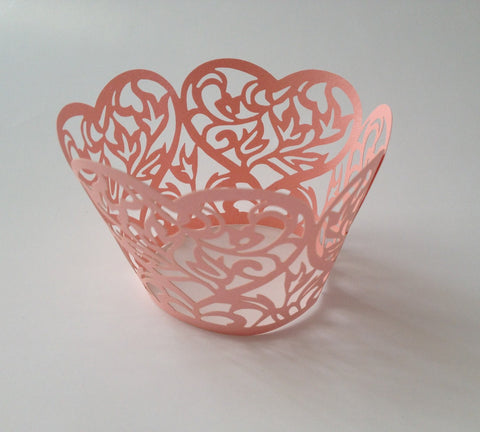12 pcs Pink Heart Lace Cupcake Wrappers