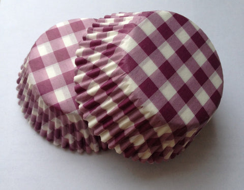 50 count Purple Gingham Cupcake Liners