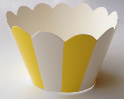 12 pcs Pretty Yellow Stripes Cupcake Wrappers