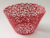 12 pcs Red Classic Filigree Lace Cupcake Wrappers