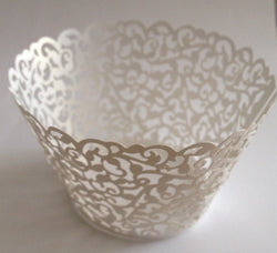 12 pcs White Classic Filigree Lace Cupcake Wrappers